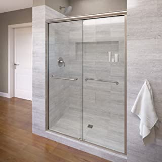 Basco Infinity Semi-Frameless Sliding Shower Door, Fits 44- 47 inch opening, Clear Glass, Brushed Nickel Finish