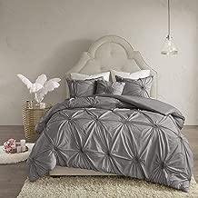 Madison Park Leila Cotton Blend Geometric Duvet Cover Cal King Size, King King, Dark Gray 4 Piece Bedding Set