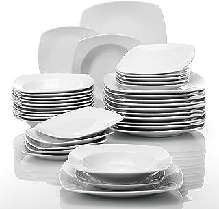 comprar comparacion MALACASA, serie JULIA, 36 piezas Vajillas de Porcelana Juegos de Vajillas con 12 Platos de la Cena, 12 Platos de Postre, 1...