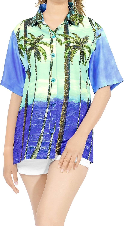 HAPPY BAY Women's Hawaiian Shirt Beach Aloha Swim Shirt for Women 3D Printed