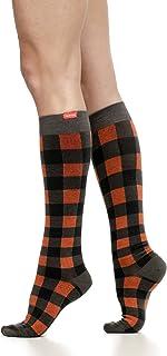 VIM & VIGR Merino Wool 15-20 mmHg Compression Socks for Women & Men (Burnt Orange & Black Montana Plaid, Medium)