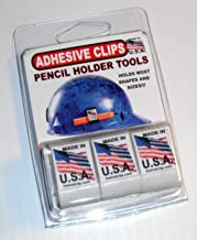 product image for ADHESIVE PENCIL HOLDER CLIP for hard hat toolbox lockers clipboard and more! WHITE 3 PACK holds regular or carpenter pencils and even some Sharpies Use on powertools saws welder drills USA made