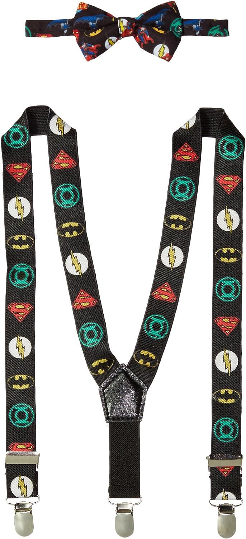 DC Comics Baby Boys Bowtie & Suspender Set, Justice League Suspenders and Bowtie, Infant