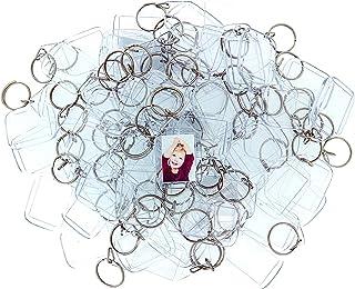 100 Llaveros con Marco para Fotos Acrílico Transparente por Kurtzy - Llavero en Blanco de 3,4cm x 2,4cm - Llavero Apto para Billetera para Insertar Fotos Personalizadas - Apto para Hombres y Mujeres