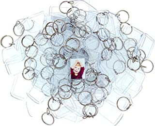 100 Clear Acrylic Photo Keychains - 1.2 x 2.1 Inch Translucent Blank Keyring - Wallet Friendly Key Ring for Custom Personalized Insert Pictures - Plastic Keychain Suitable for Women and Men