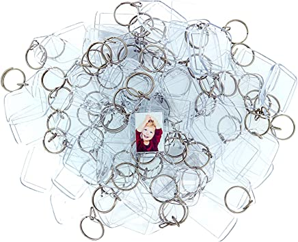 Kurtzy 50 pc Acrylic Clear Photo Keychains - 34 x 24 mm Translucent Blank Keyring - Wallet Friendly Key Ring for Custom Personalised Insert Pictures - Plastic Keychain Suitable for Women and Men