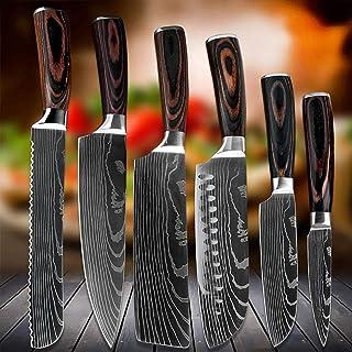 """9""""8"""" 7""""5"""" 3.5""""Couteau de chef de pouce de pouce Set Slicing Pain légégétale Santoku Paring Couteaux 6PC Couteau de cuisine..."""