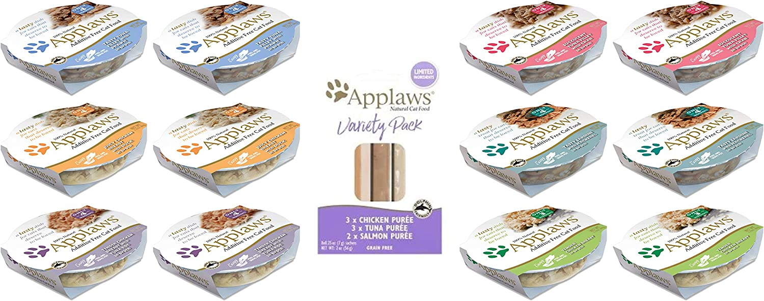 Applaws Peel and Serve Cat Food in Broth 6-Flavor Variety Pack (2.12 Ounces Each, 12 Pots Total) Plus Applaws Lickable Puree Cat Treats Variety Pack (.25 Ounce Sachets, 8 Count Total, 1 Pack Total)