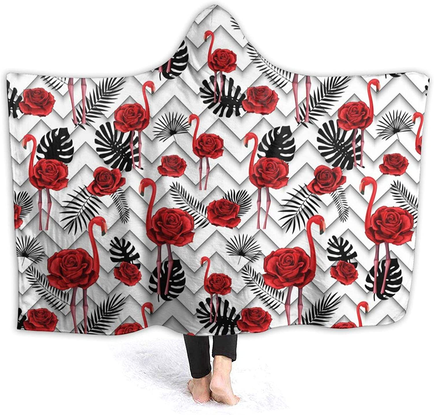 DASMUS Kids OFFer Adults Hooded Blanket Roses Lines Red Cheap Trendy Zigzag