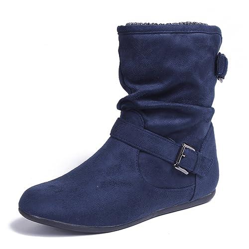 AgeeMi Shoes Mujer Sólido Suede Tacón de Cuña Caña Baja Botas con Hebilla
