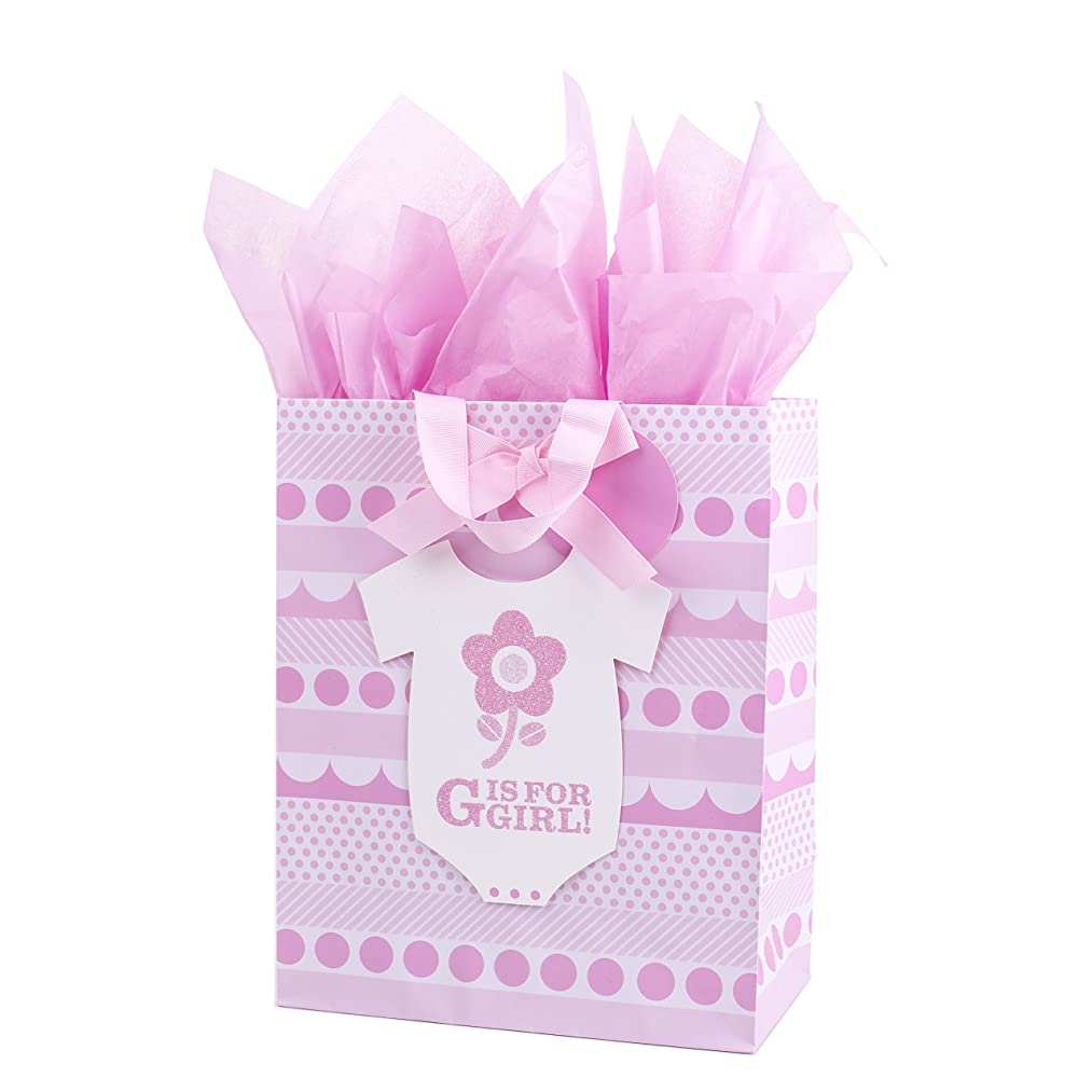 Hallmark Large Baby Girl Gift Bag with Tissue Paper for Baby Showers, New Moms and More (G is for Girl)