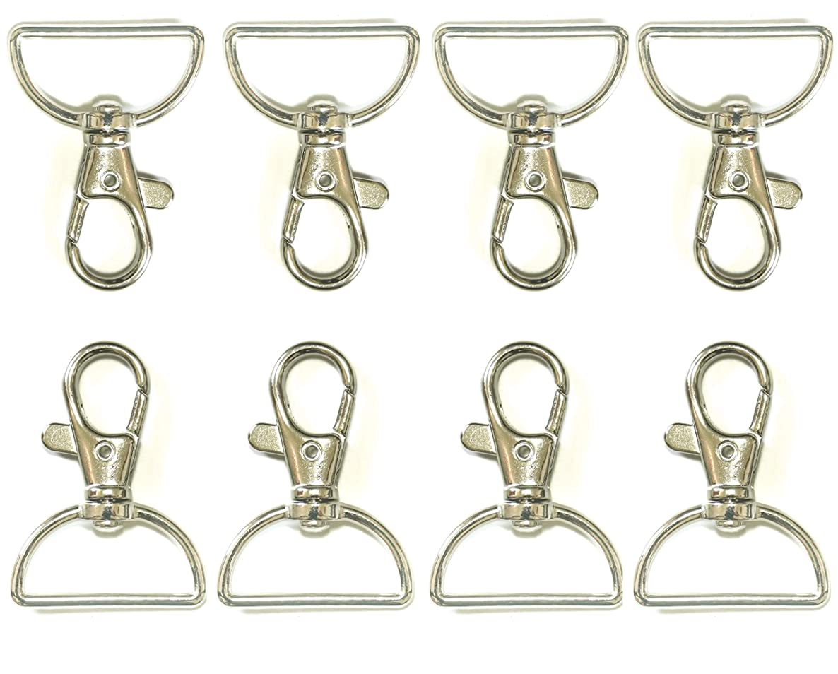 ALL in ONE 20pcs Swivel Lobster Claw Clasps Snap Hook with D Ring for DIY Craft Jewelry Findings