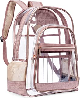 Clear Backpacks, Heavy Duty Transparent PVC Backpack, Freeze-Proof See Through Bookbag- Perfect for School and Work (rose gold)