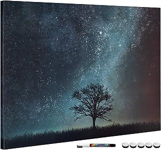 Navaris Tablero de Notas magnético - Pizarra con diseño de árbol y Noche Estrellada - Pizarra magnética con Marcador Negro...