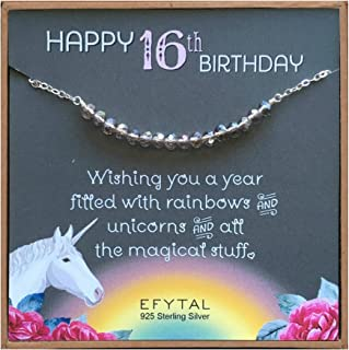 EFYTAL 16th Birthday Gifts for Girls, 925 Sterling Silver Sweet 16 Necklace for 16 Year Old Girl, Beaded Bar Jewelry Gift ...