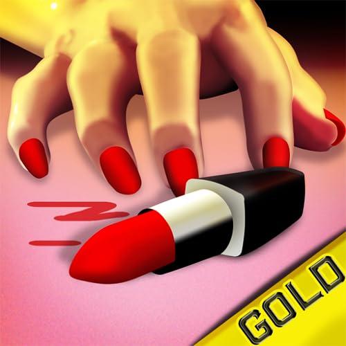 Lippenstift Finger-Crash: Frau mit rosa Messer Tanzspiel - Gold Edition