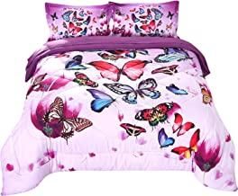 Wowelife 3D Purple Butterfly Comforter Twin Upgraded Print Beautiful Butterfly Groups in 5 Piece for Teens and Adults(Playing Butterfly, Twin)