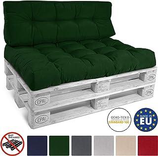 Beautissu Cojín Palet sofá-Palet y europalet Eco Style - Cojín de Asiento Acolchado 120x80x15 cm - Color: Verde Oscuro El...