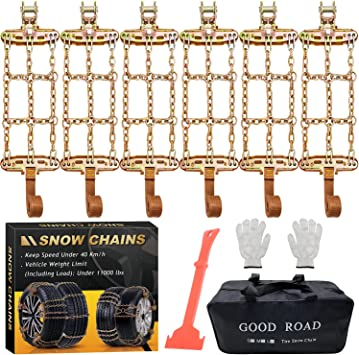 Newest Snow Chains, Tire Chains for Suvs, Cars, Sedan, Family Automobiles,Heavy Trucks with Update Adjustable Lock for Ice, Snow,Mud,Sand,Applicable Tire Width 6.5-8.8in/165-224 mm (6PCS): image