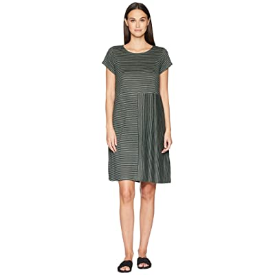 Eileen Fisher Organic Linen Jersey Stripe Dress (Nori) Women