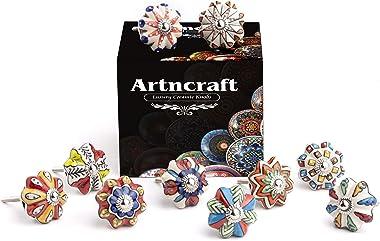Artncraft Set Vintage Color Multi Designed Ceramic Cupboard Cabinet Door Knobs Drawer Pulls & Chrome Hardware (Multi Color 10