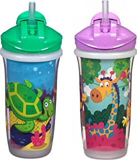 Playtex Sipsters Stage 3 Spill-Proof, Leak-Proof, Break-Proof Insulated Straw Sippy Cups for Boys and Girls - 9 Ounce - 2 Count, Multicolored