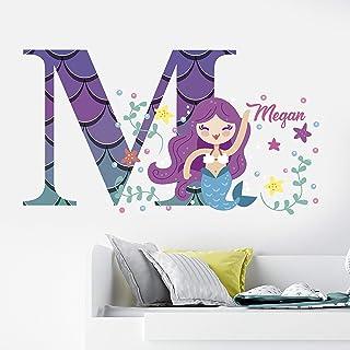 Mermaid Personalized Wall Decal -Name Mermaid Wall Decal - Kids Wall Decor - WM26. Mermaid Custom Name Removable Wall Deca...