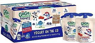 GoGo squeeZ YogurtZ, Variety Pack (Blueberry/Strawberry), 3 Ounce (20 Pouches), Low Fat Yogurt, Gluten Free, Reusable, BPA...
