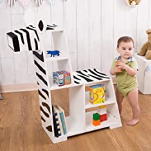 Teamson Kids - Zoo Kingdom Zebra Bookshelf - White/ Black