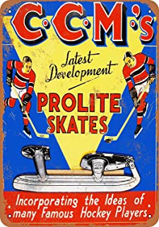 CCM Prolite Hockey Skates Vintage Look Aluminum Metal Sign Heavy Duty Funny Wall Decoration Safety Tin Signs