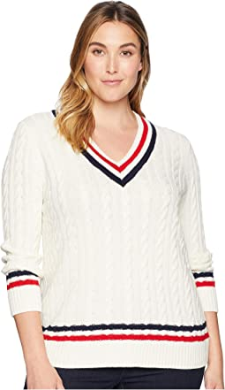 Plus Size Cable-Knit Cricket Sweater