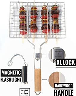 Harold & Harold Fish Grill Basket with Free Magnetic Barbecue Light. Kabob Grilling Basket & Grill Accesories Great for Salmon, Fish, Steak, Vegetables and Pork. Stainless Steel Grill Basket.