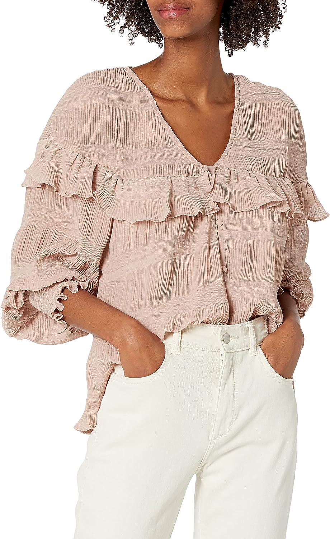 KENDALL + KYLIE Women's Button Up Ruffle Blouse