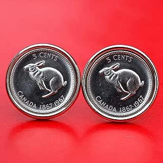 1967 Canada Centennial Rabbit 5 Cents Gem BU Uncirculated Coin Cufflinks - Wildlife Animal - NEW