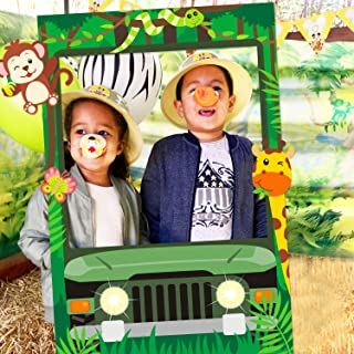 Jungle Safari Photo Booth Frame Safari Zoo Animal Selfie Photo Booth Picture Frame Backdrop for Jungle Themed Birthday Par...