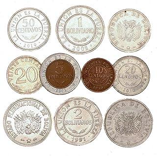 10 عملات بوليفيا 10 سينتافوس - 5 بوليفيانوس. جمع القطع النقدية القديمة من أمريكا الجنوبية ، منذ عام 1986. اختيار مثالي لبن...