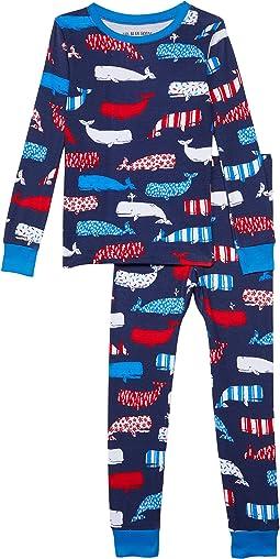 Nautical Whales Pajama Set (Toddler/Little Kids/Big Kids)