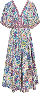 R.Vivimos Women's Print V-Neck Cotton Beach Long Dresses