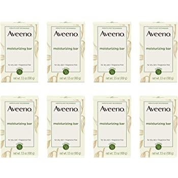 Aveeno Gentle Moisturizing Bar Facial Cleanser with Nourishing Oat for Dry Skin, Fragrance-free, Dye-Free, & Soap-Free, 3.5 oz (pack of 8)