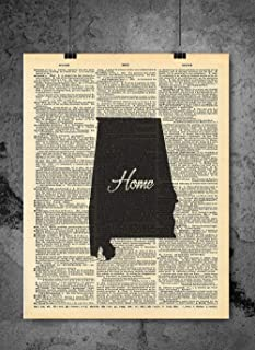 Alabama State Vintage Map Vintage Dictionary Print 8x10 inch Home Vintage Art Abstract Prints Wall Art for Home Decor Wall Decorations For Living Room Bedroom Office Ready-to-Frame Home