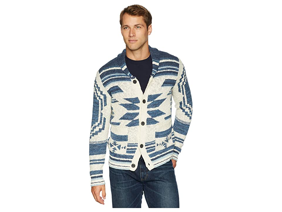 Lucky Brand Heritage Shawl Cardigan Sweater (Blue Multi) Men
