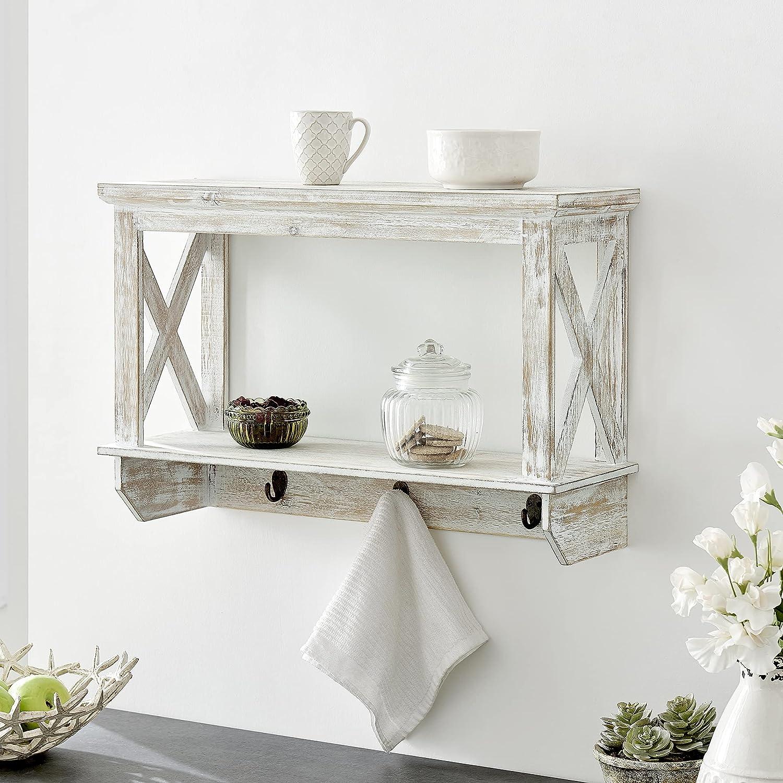 FirsTime online shop Co. White Jovi Farmhouse Wood Hooks Shelf 23.5 Classic with