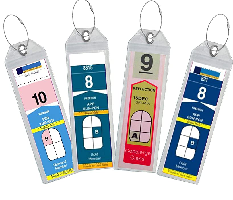 Cruise Luggage Tag Holder Zip Seal & Steel - Royal Caribbean & Celebrity Cruise (Clear - 4 Pack)