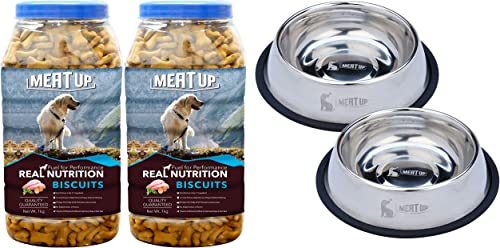 Meat Up Chicken Flavour , Real Chicken Biscuit, Dog Treats - 1kg Jar ( BOGO) and Stainless Steel Dog Feeding Bowl Med...