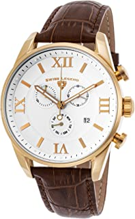Swiss Legend Men's Bellezza Stainless Steel Swiss-Quartz Watch with Leather Calfskin Strap, Brown, 21 (Model: 22011-YG-02-BRN)