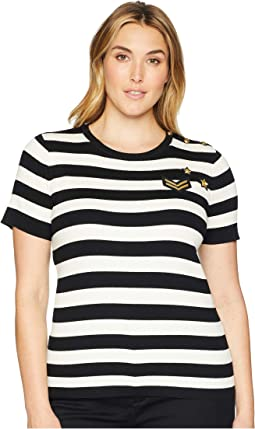 Plus Size Buttoned Striped Top
