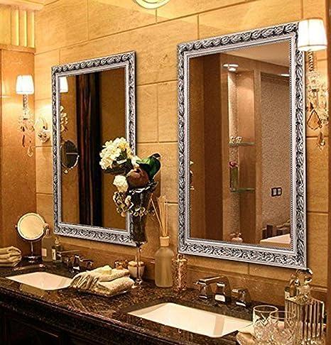 Amazon Com Large Rectangular Bathroom Mirror Wall Mounted Wooden Frame Vanity Mirror Silver 38 X26 Home Kitchen