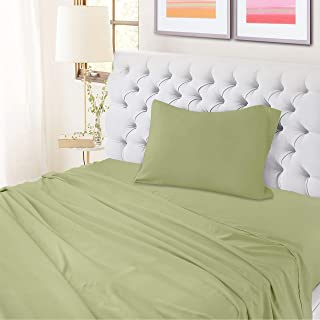 100% Cotton Twin Percale Sheet Set- Sage Sheets- 3 Piece- Oeko Tex Certified- Breathable Cool Crisp - Luxury Finish- Fits Upto 15