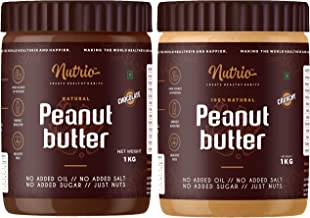 Nutrio 100% Natural Peanut Butter (Crunchy + Chocolate Flavour ) (Unsweetened | 1kg+1kg=2kg )(Combo Pack/Pack of 2)