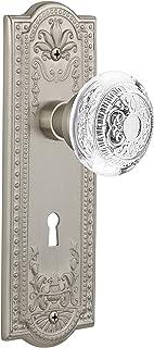 "Nostalgic Warehouse 751492 Meadows Plate with with Keyhole Crystal Egg & Dart Knob Privacy, Backset Size: 2.75"", Satin Nickel"